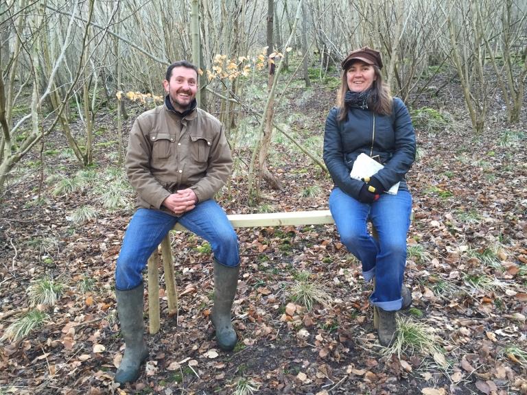 Daniel & Carol on a bench